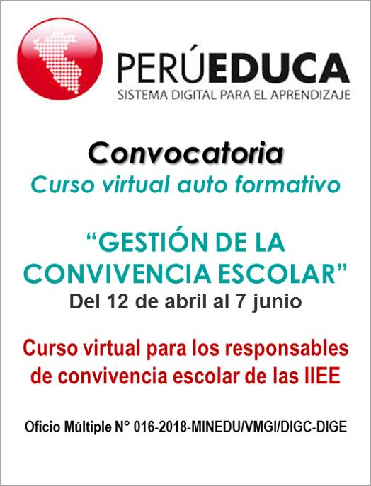 """Convocatoria a curso virtual de """"Gestión de la convivencia escolar"""""""