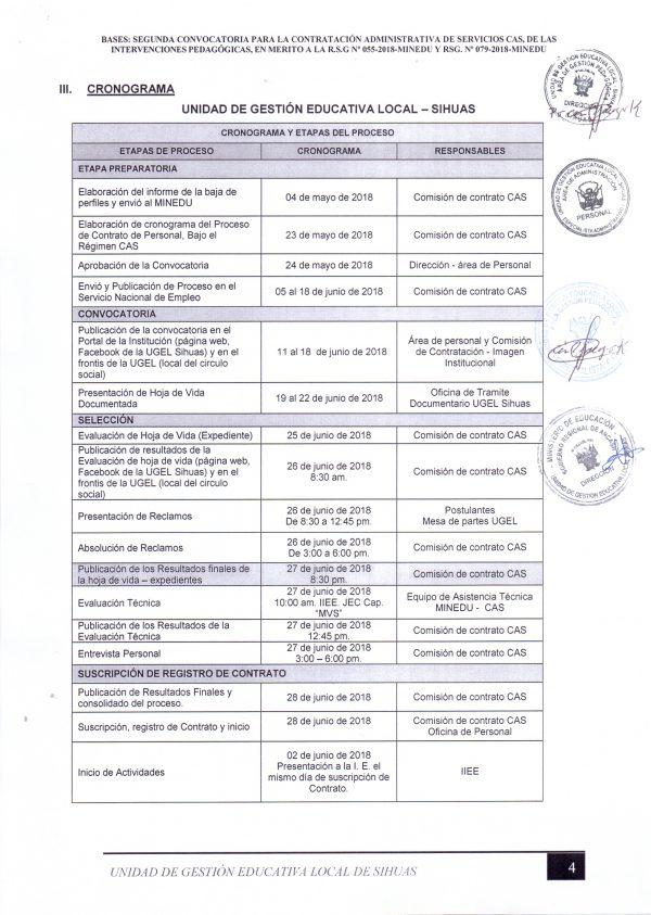 CRONOGRAMA Y PLAZAS VACANTES PARA ENCARGATURAS DE DIRECCIÓN  #ETAPA I