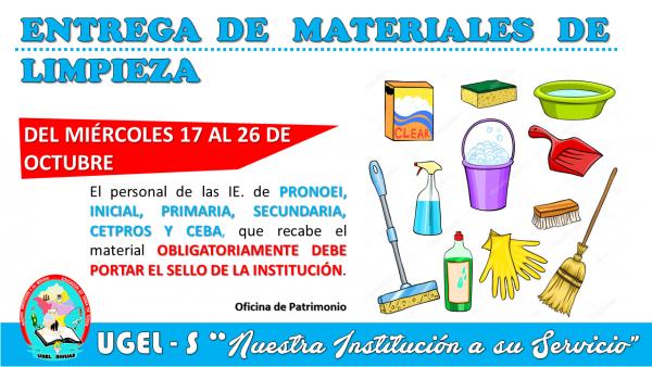Entrega de Materiales de Limpieza para las IE.
