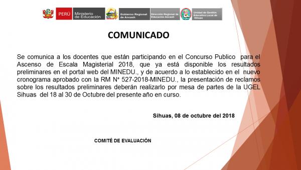Concurso Publico  para el Ascenso de Escala Magisterial 2018 – resultados  preliminares portal MINEDU