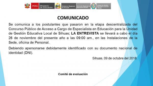 Concurso Público de Acceso a Cargo de Especialista en Educación – Entrevista