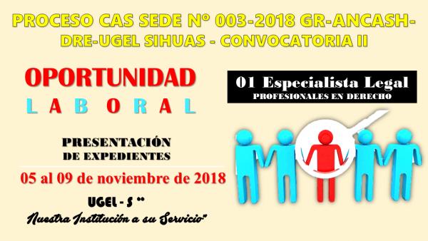 Proceso CAS N° 003-2018 Fortalecimiento de la Gestión Administrativa en las UGELs