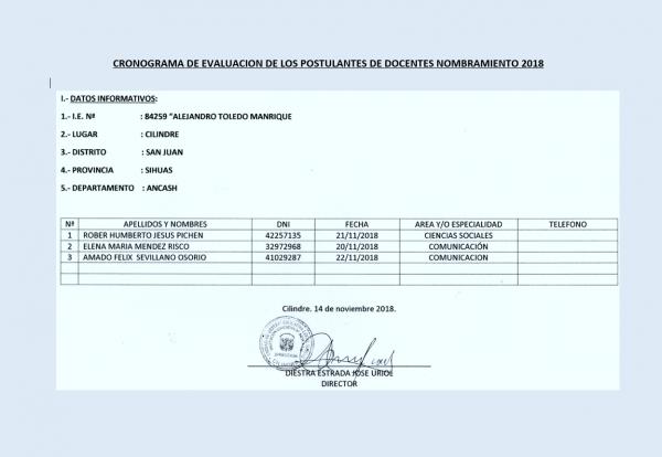 """Cronograma de Evaluación de la Institución Educativa N° 84259 """"ALEJANDRO TOLEDO MANRIQUE"""" – CILINDRE"""