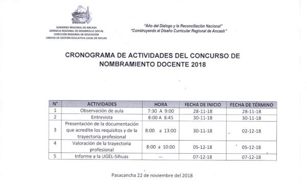 """Cronograma de Evaluación de la Institución Educativa """"JOSÉ MARIA EGUREN"""" – PASACANCHA"""