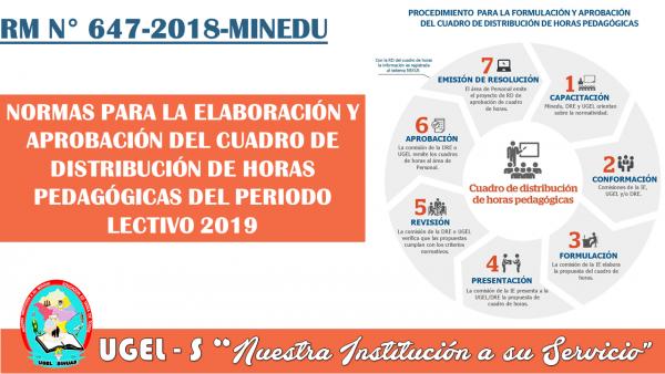 NORMAS PARA LA ELABORACIÓN Y APROBACIÓN DEL CUADRO DE DISTRIBUCIÓN DE HORAS PEDAGÓGICAS DEL PERIODO LECTIVO 2019