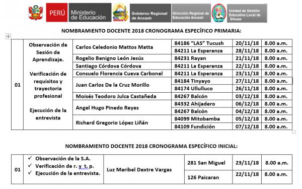 NOMBRAMIENTO DOCENTE 2018: CRONOGRAMA ESPECIFICO PARA PRIMARIA E INICIAL