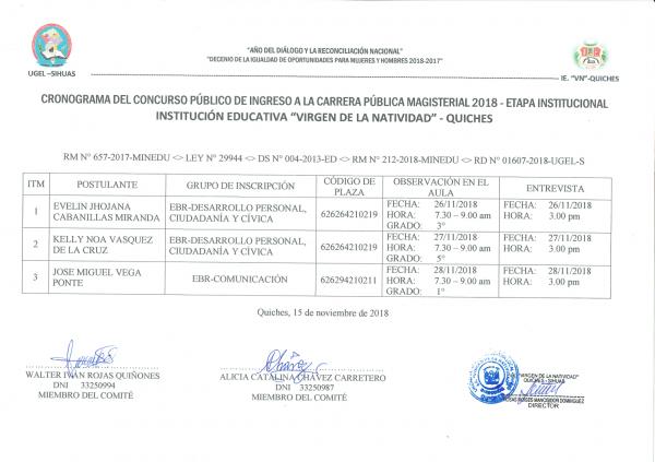 """Cronograma de Evaluación de la Institución Educativa """"VIRGEN DE LA NATIVIDAD"""" – QUICHES"""