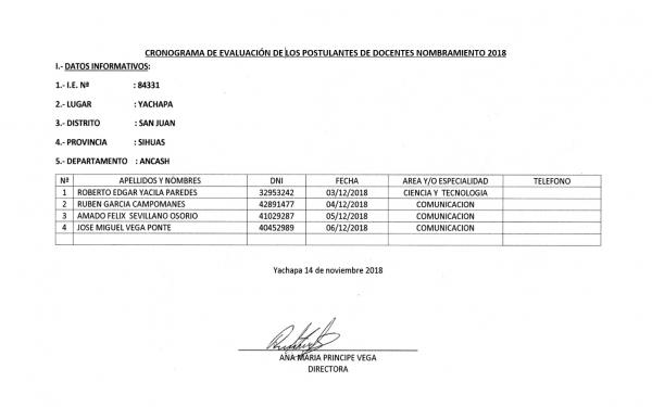 Cronograma de Evaluación de la Institución Educativa N° 84331 YACHAPA
