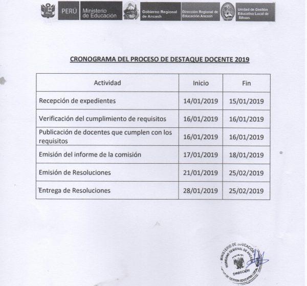 PRECISIONES PARA EL PROCESO DE DESTAQUE DOCENTE – 2019