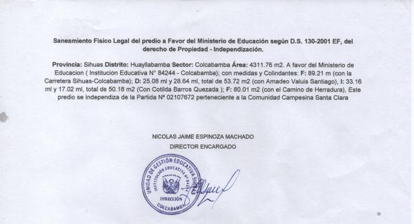 SANEAMIENTO FÍSICO LEGAL DEL PREDIO – MINEDU – I.E. Nº 84244 – COLCABAMNA