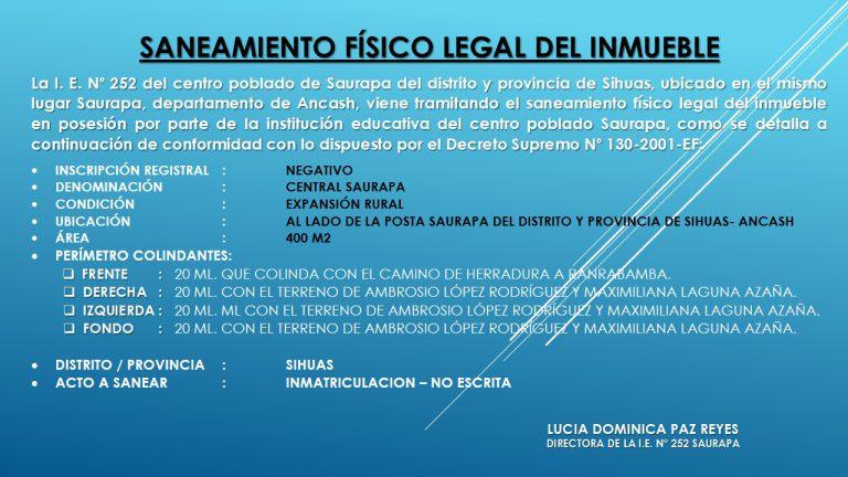 SANEAMIENTO FISICO LEGAL DEL INMUEBLE – IIEE. N° 253 SAURAPA DISTRITO Y PROVINCIA DE SIHUAS