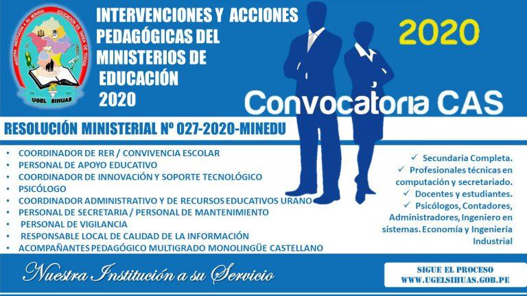 PROCESO CAS PP0090 JEC – CONVOCATORIA Nº 001-2020/UGEL-S