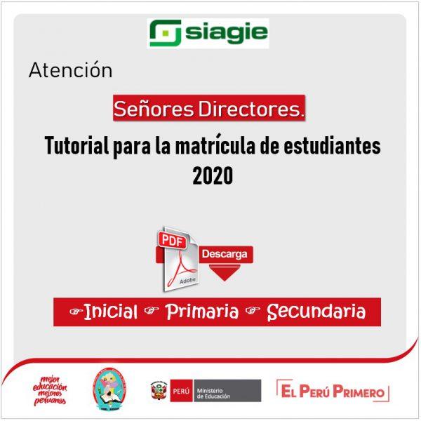 TUTORIAL PARA LA MATRICULA DE ESTUDIANTES 2020