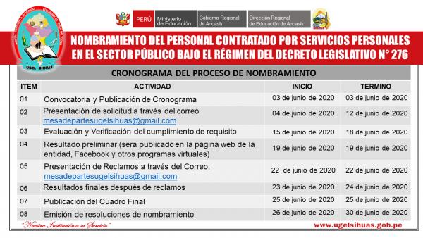 CONVOCATORIA AL PROCESO DE NOMBRAMIENTO DEL PERSONAL CONTRATADO POR SERVICIOS PERSONALES EN EL SECTOR PÚBLICO BAJO EL RÉGIMEN DEL DECRETO LEGISLATIVO N° 276.