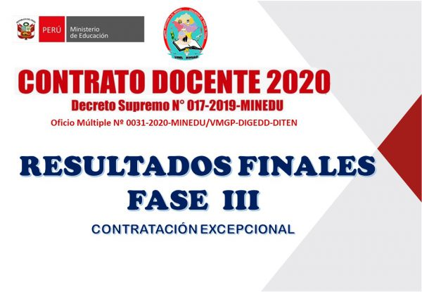 CONTRATO DE DOCENTES – RESULTADOS FINALES