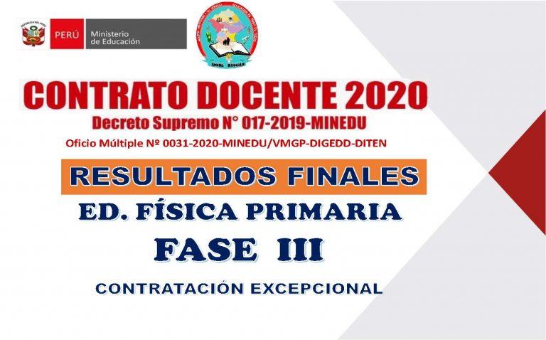 PUBLICACIÓN DE RESULTADOS FINALES