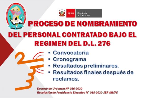 PROCESO DE NOMBRAMIENTO DEL PERSONAL COMPRENDIDO EN EL RÉGIMEN DEL DECRETO LEGISLATIVO N° 276.