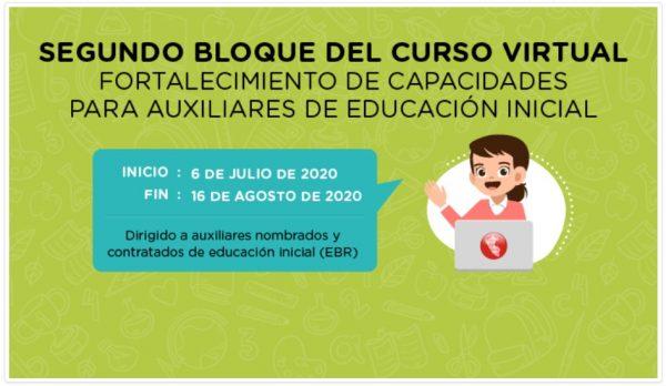 PRE-INSCRIPCIÓN CURSO VIRTUAL: FORTALECIMIENTO DE CAPACIDADES PARA AUXILIARES DE EDUCACIÓN  INICIAL EBR