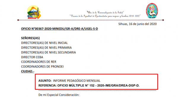 OFICIO Nº 0367 – UGEL SIHUAS, ASUNTO INFORME PEDAGOGO MENSUAL