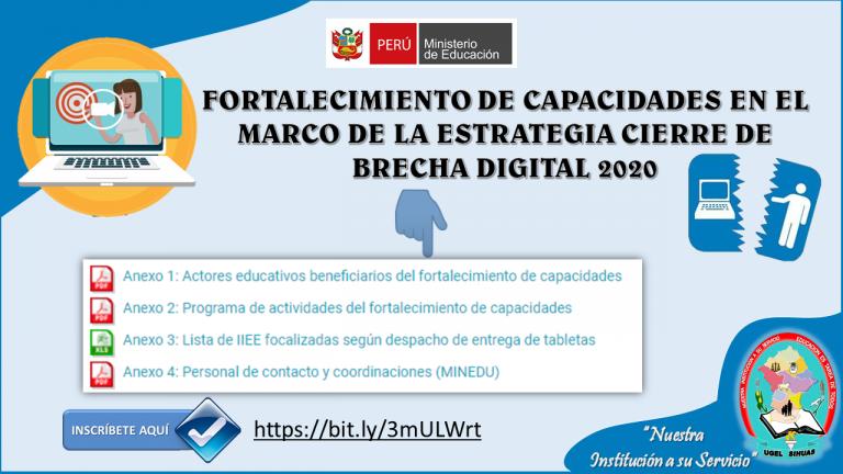 Fortalecimiento de Capacidades en el marco de la estrategia Cierre de Brecha Digital – 2020