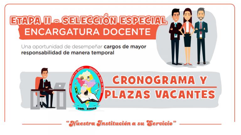 PLAZAS PARA ENCARGATURA EN CARGOS DE MAYOR RESPONSABILIDAD – ETAPA II SELECCION ESPECIAL