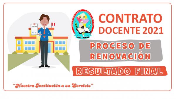 PROCESO DE RENOVACION DE CONTRATO DOCENTE 2021