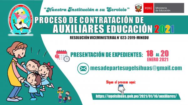 PROCESO DE CONTRATO DE AUXILIARES DE EDUCACIÓN 2021