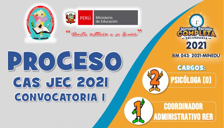 RESULTADOS FINALES PROCESO DE CONTRATACIÓN CAS JEC 2021
